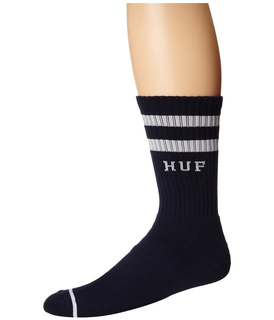 HUF - 2 Stripe Crew Sock (Navy) Crew Cut Socks Shoes