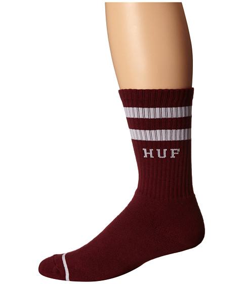 HUF - 2 Stripe Crew Sock (Wine SU15) Crew Cut Socks Shoes