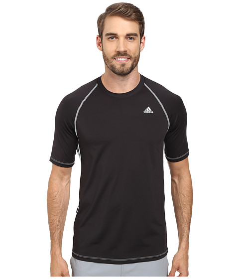 adidas - Short Sleeve Swim Top (Black) Men's Swimwear