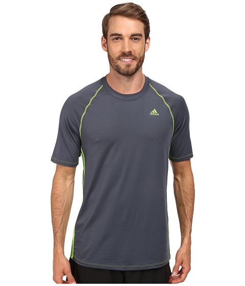 adidas - Short Sleeve Swim Top (Gunmetal) Men