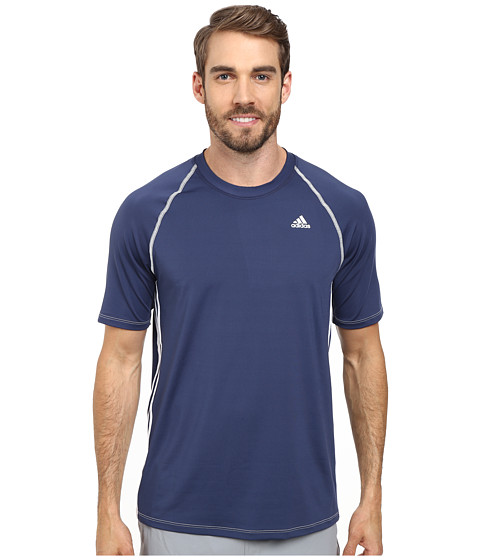 adidas - Short Sleeve Swim Top (Navy) Men's Swimwear