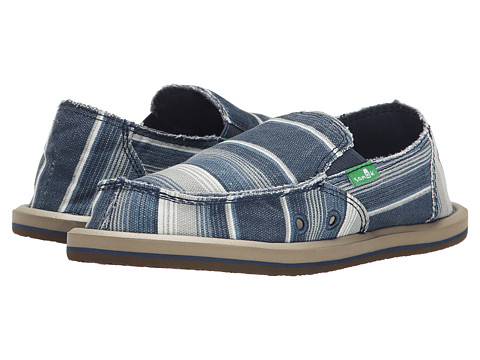 Sanuk Kids - Donny (Little Kid/Big Kid) (Blue Poncho Stripes) Boys Shoes