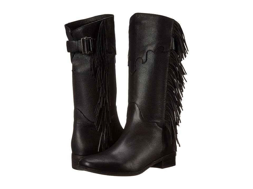 See by Chloe Pebbled Leather Bootie with Fringe (Black) Women