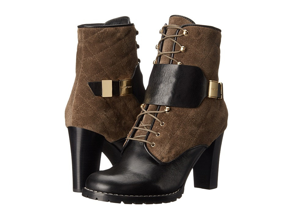 See by Chloe - Suede + Flat Leather Lace Up Bootie (Black/Grey) Women's Lace-up Boots