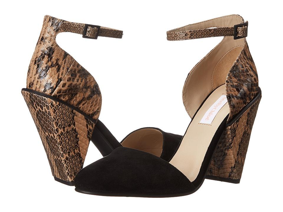 See by Chloe Suede + Snake Ankle Strap Sandal (Black) High Heels
