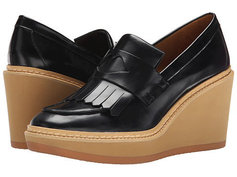 See by Chloe - Fringed Moc On A Wedge Lug Sole (Black) Women's Wedge Shoes
