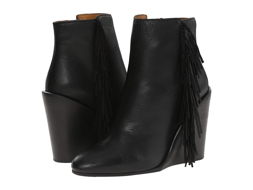 See by Chloe Pebbled Leather Wedge Bootie with A Fringe (Black) Women