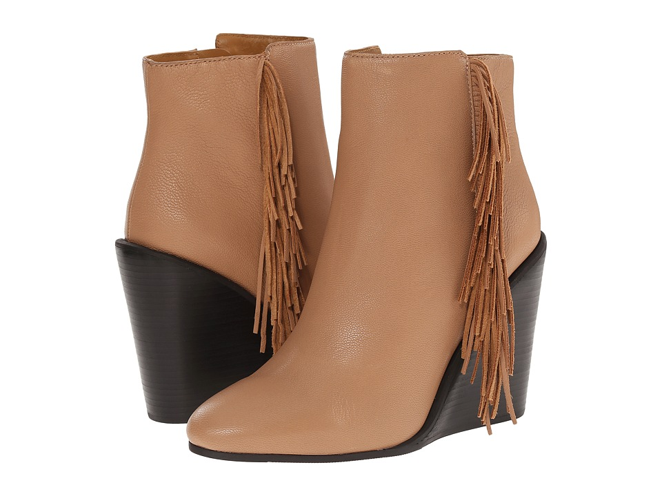 See by Chloe - Pebbled Leather Wedge Bootie with A Fringe (Nude) Women's Boots