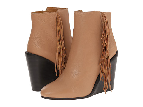 See by Chloe - Pebbled Leather Wedge Bootie with A Fringe (Nude) Women