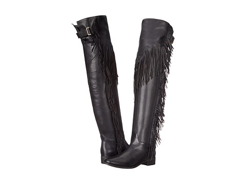 See by Chloe - Pebbled Leather Over The Knee Boot with A Fringe (Black) Women