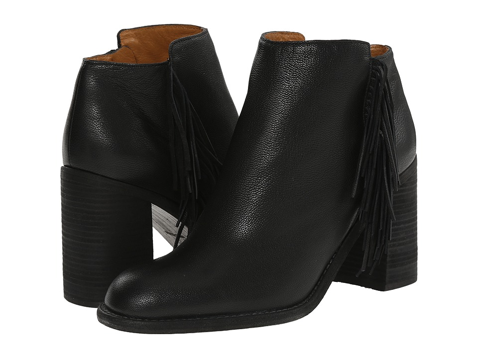See by Chloe Pebbled Leather Bootie with A Fringe (Black) Women
