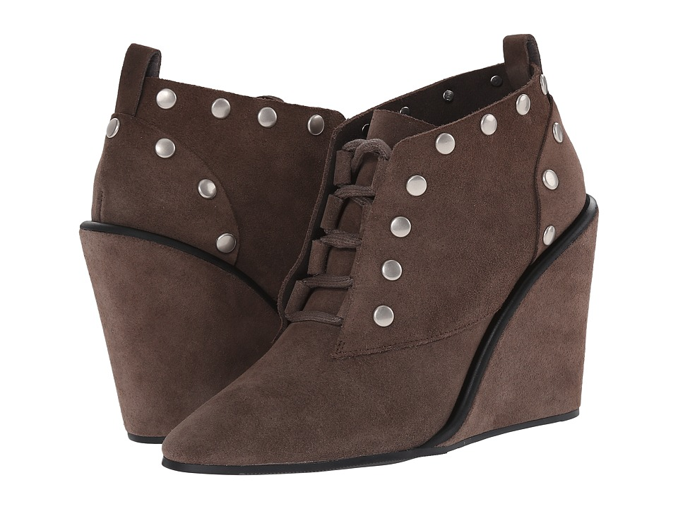 See by Chloe - Suede Lace Up Wedge Bootie with Studs (Grey) Women