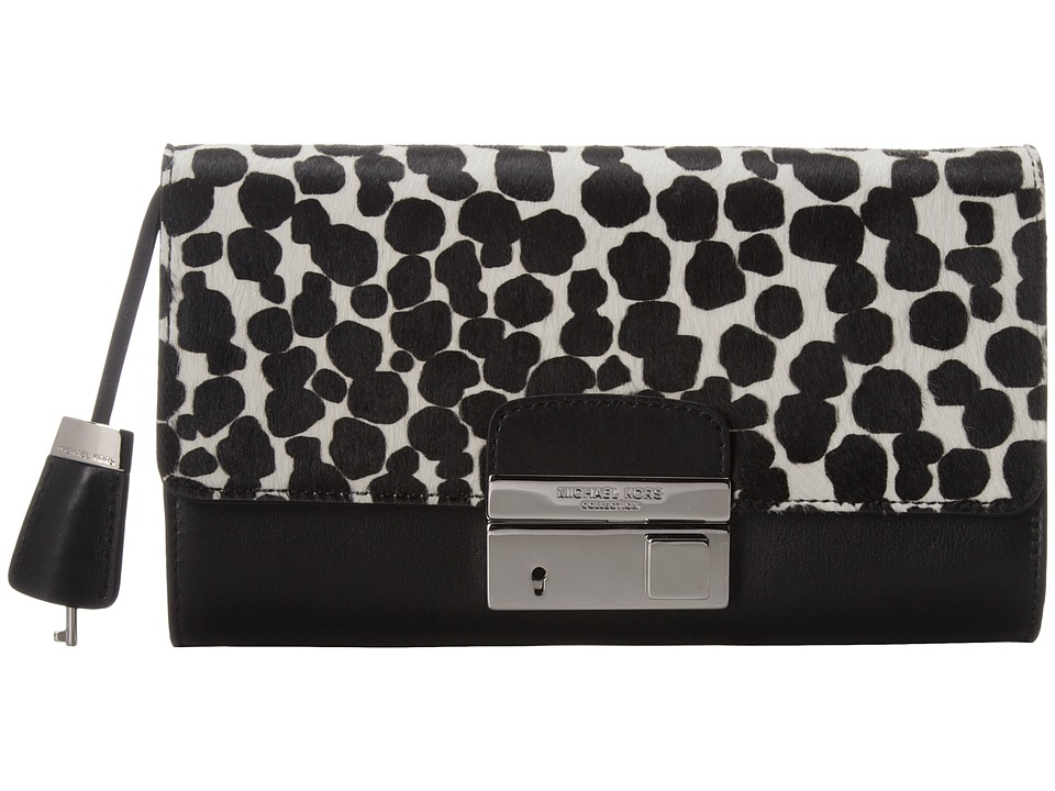 Michael Kors - Gia Clutch with Lock (Black/White Cheetah) Clutch Handbags