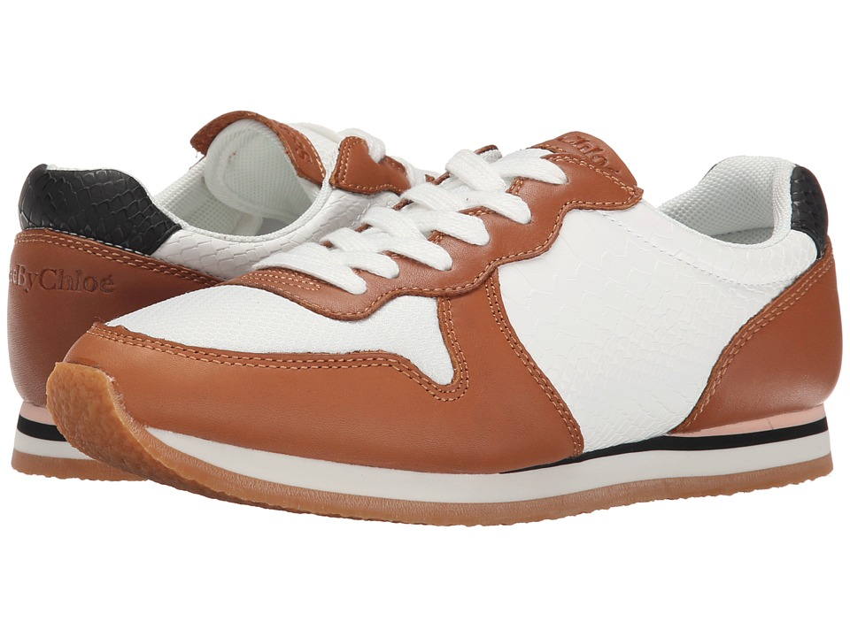 See by Chloe - Mixed Material Sneaker (Tan/White) Women's Lace up casual Shoes