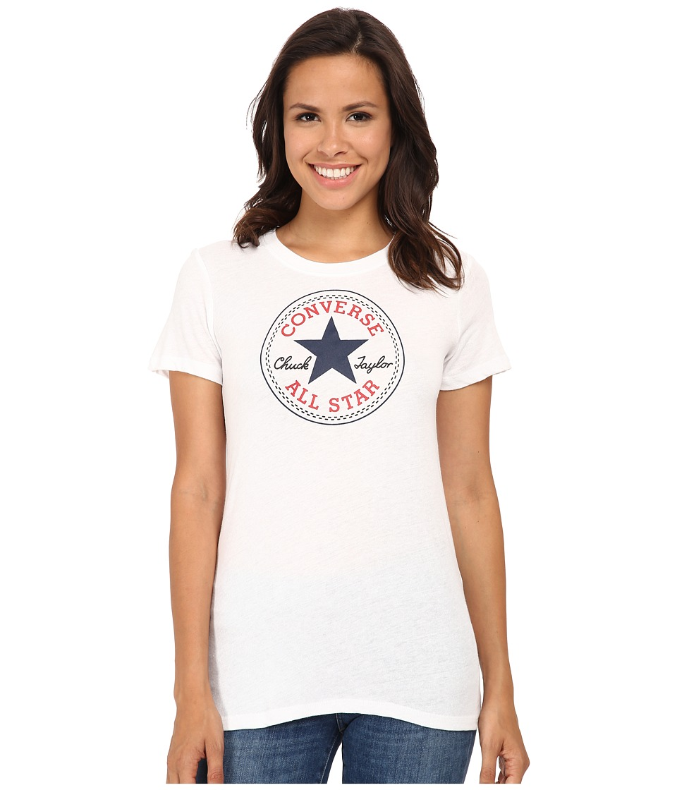 Converse - Core 2 Chuck Patch Short Sleeve Crew Tee Color Heather Triblend (White) Women's T Shirt