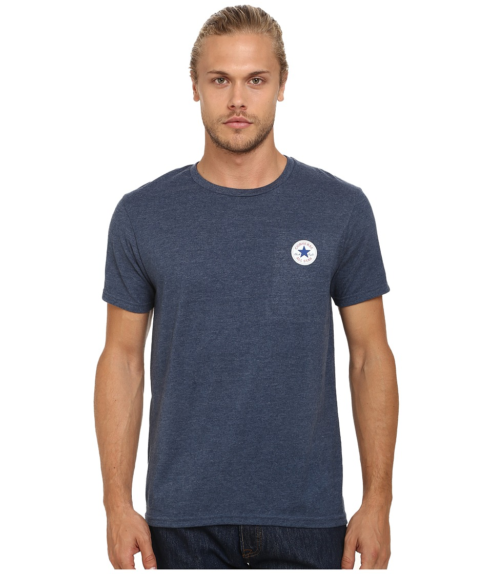 Converse - Core Left Chest Core Patch Short Sleeve Crew (Blue Heather) Men's T Shirt