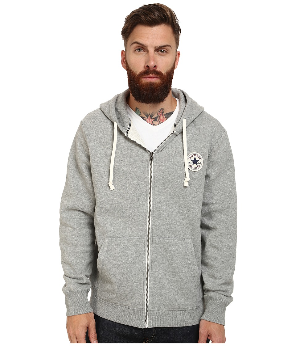 Converse - Core Full Zip Hoodie (Grey Heather) Men's Sweatshirt