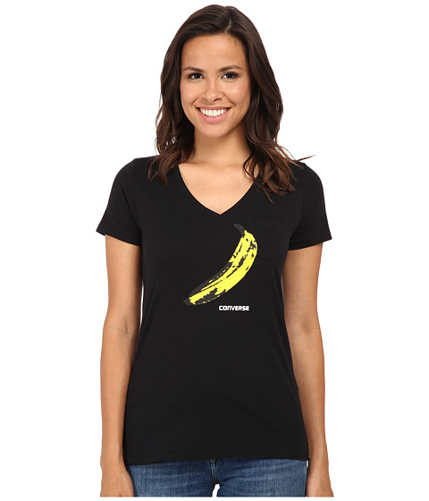 Converse - Warhol Banana V-Neck Short Sleeve Tee Triblend (Black) Women's T Shirt