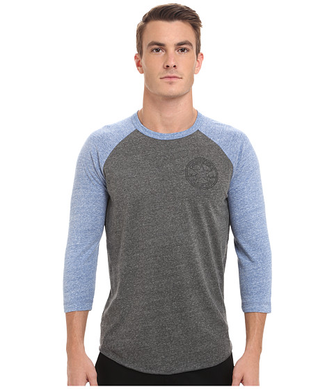 Converse - Core Patch Stars 3/4 Sleeve Raglan Triblend Tee (Grey Heather) Men's T Shirt