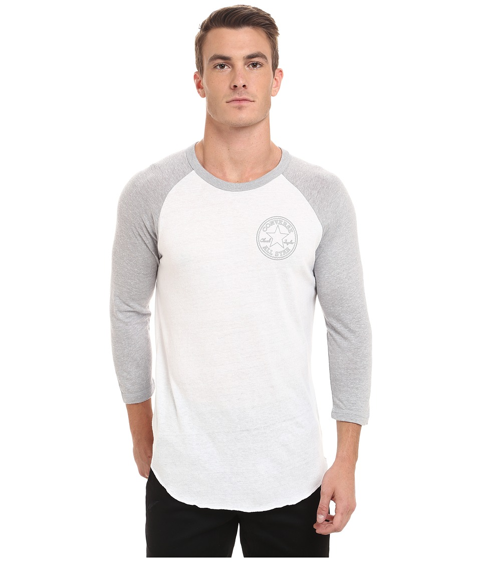Converse - Core Patch Stars 3/4 Sleeve Raglan Triblend Tee (White) Men's T Shirt