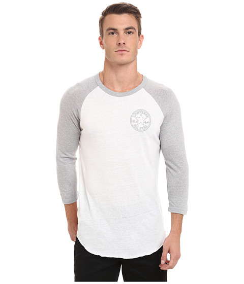 Converse - Core Patch Stars 3/4 Sleeve Raglan Triblend Tee (White) Men