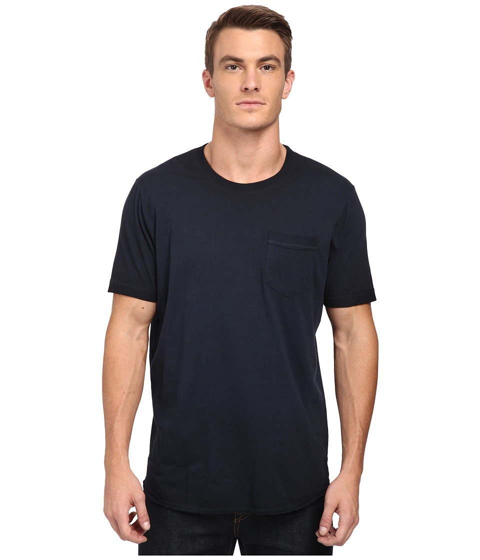 Converse - Black Wash Baseball Hem Short Sleeve Tee (Blue) Men