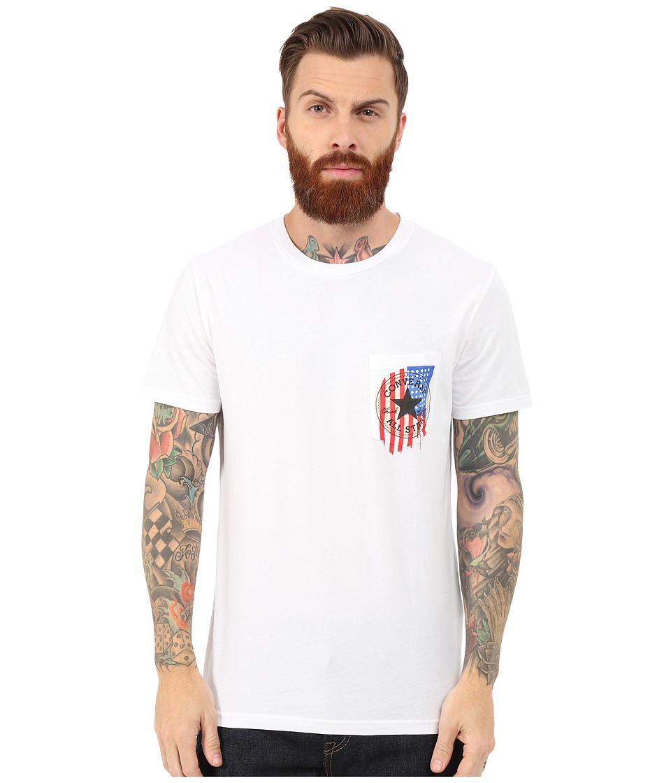 Converse - Core Patch Flag Short Pocket Tee (White) Men's T Shirt