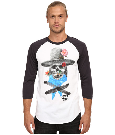 Converse - Johnny Skull 3/4 Raglan (White) Men's T Shirt