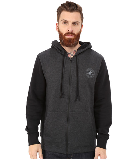 Converse - Core Plus Holiday Full Zip Hoodie (Black) Men's Sweatshirt