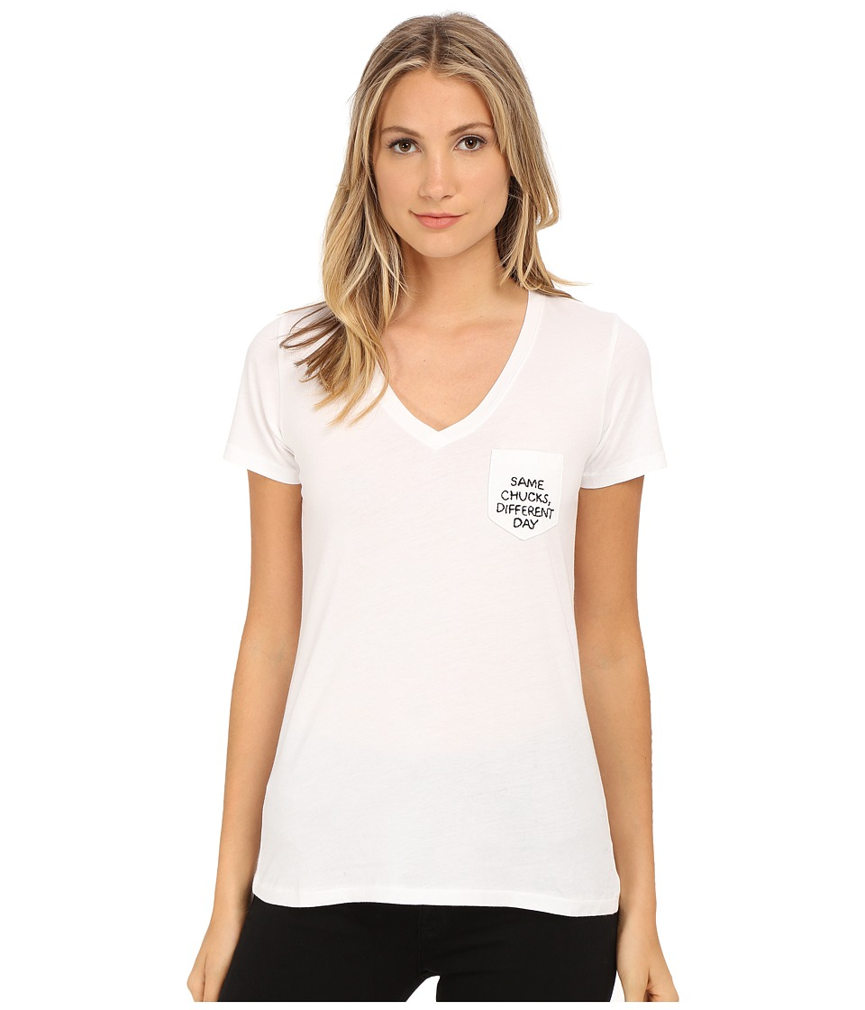 Converse - Same Chucks Different Day Short Sleeve Pocket Tee (White) Women