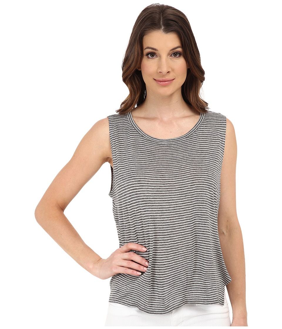 Michael Stars - Viscose Stripe Hi Low Split Back Tank Top (Heather Grey/White) Women's Sleeveless