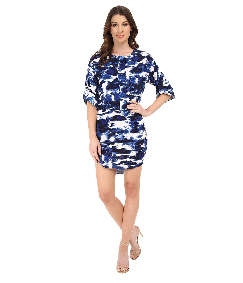 Michael Stars - Cloud Print Roll Up Elbow Sleeve Dress (Passport) Women's Dress