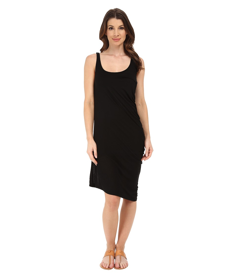 Michael Stars Micro Modal Asymmetrical Tank Dress (Black) Women