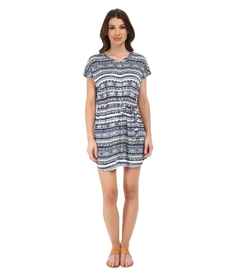 Michael Stars - Tribal Print Short Sleeve Shirtdress (Indigo) Women's Dress