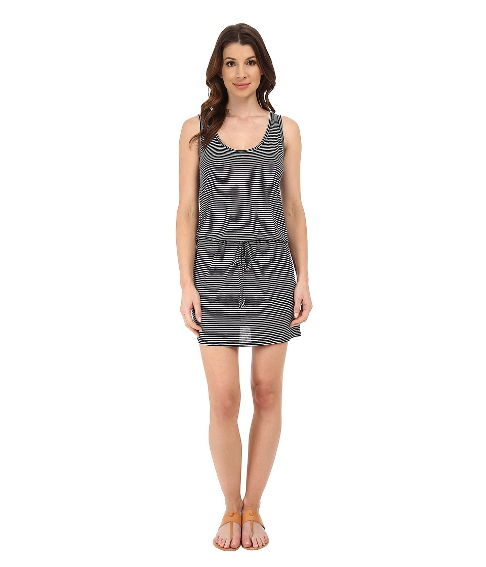 Michael Stars - Viscose Stripe Tank Dress w/ Drawstring (Passport/White) Women's Dress
