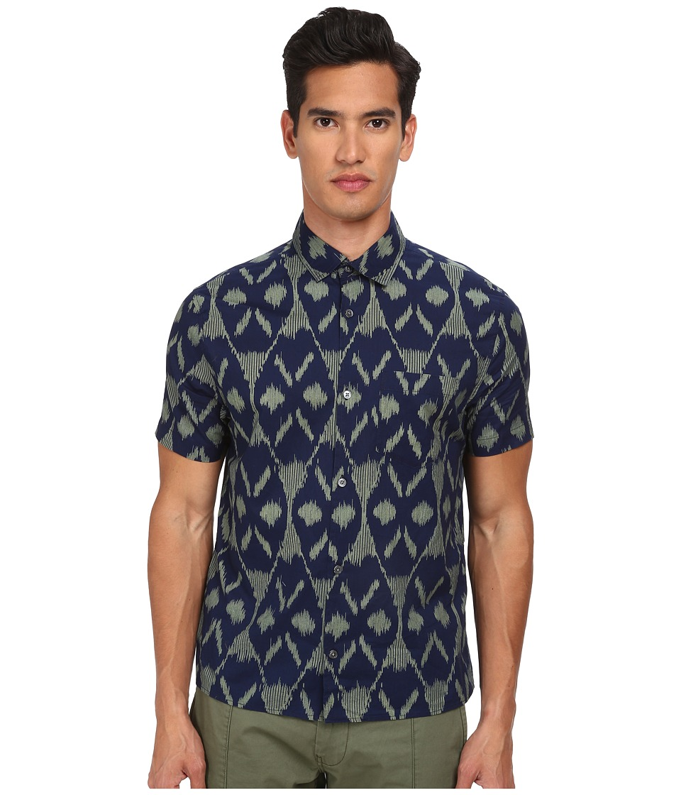 Marc by Marc Jacobs - Playa Printed Ikat-Indigo Short Seelve Shirt (Green Oasis Multi) Men's Short Sleeve Button Up