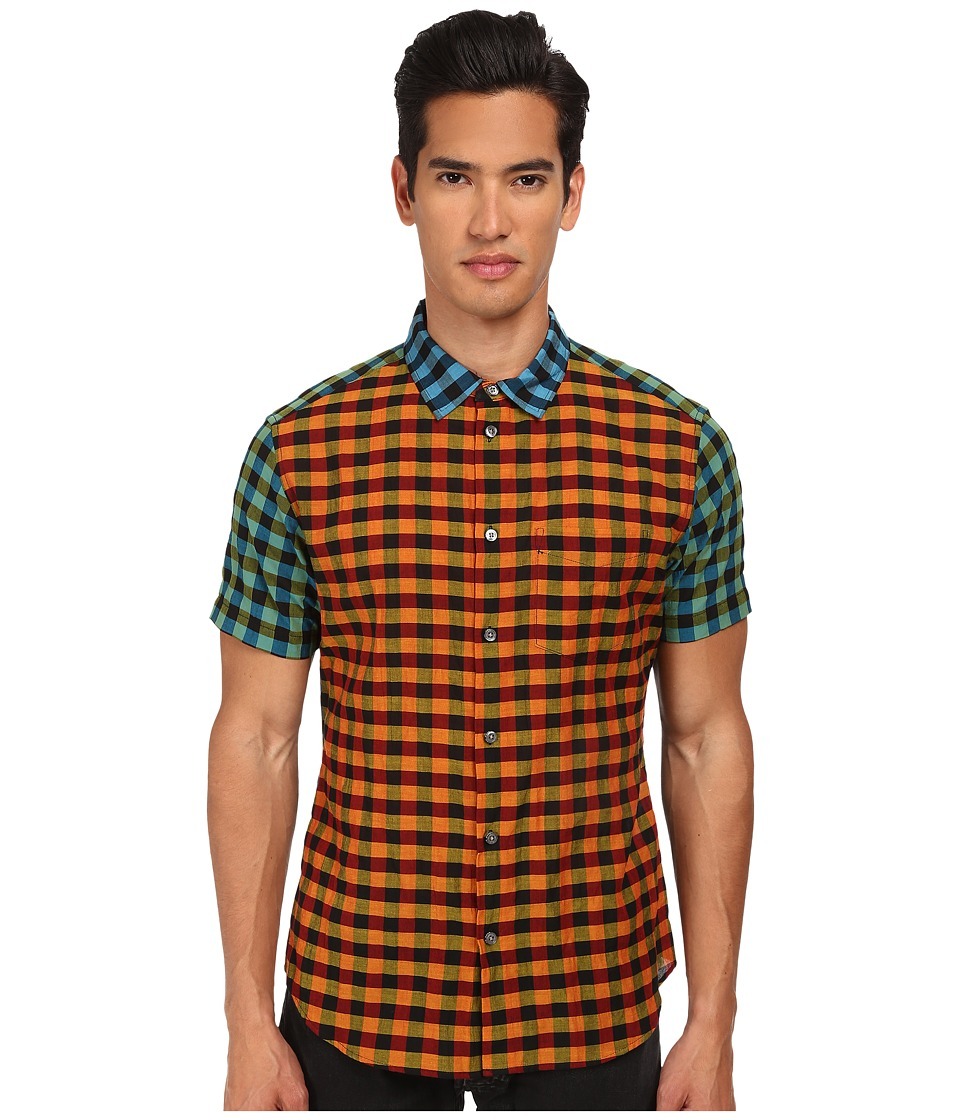 Marc by Marc Jacobs - Karl Plaid Combo Short Sleeve Shirt (Orange Multi) Men
