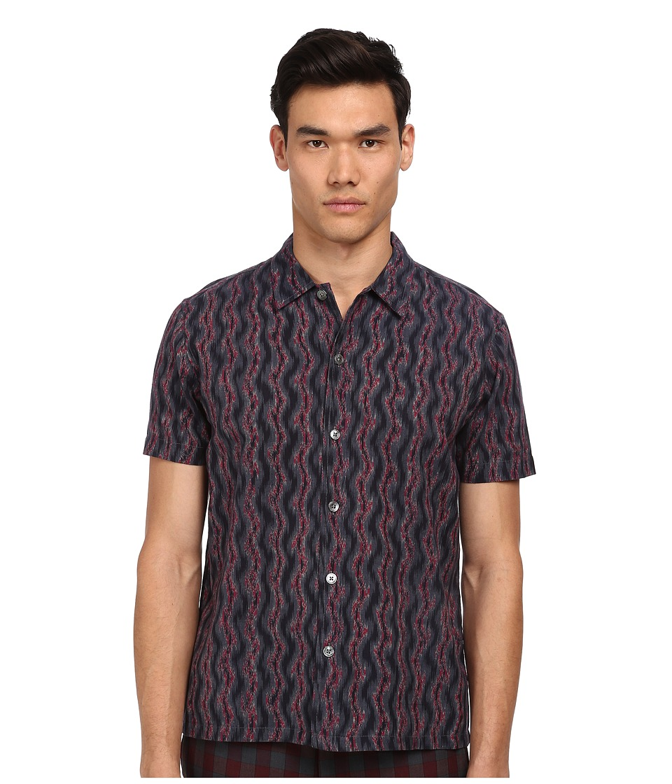 Marc by Marc Jacobs - Electric Ikat Short Sleeve Shirt (Gunmetal Multi) Men