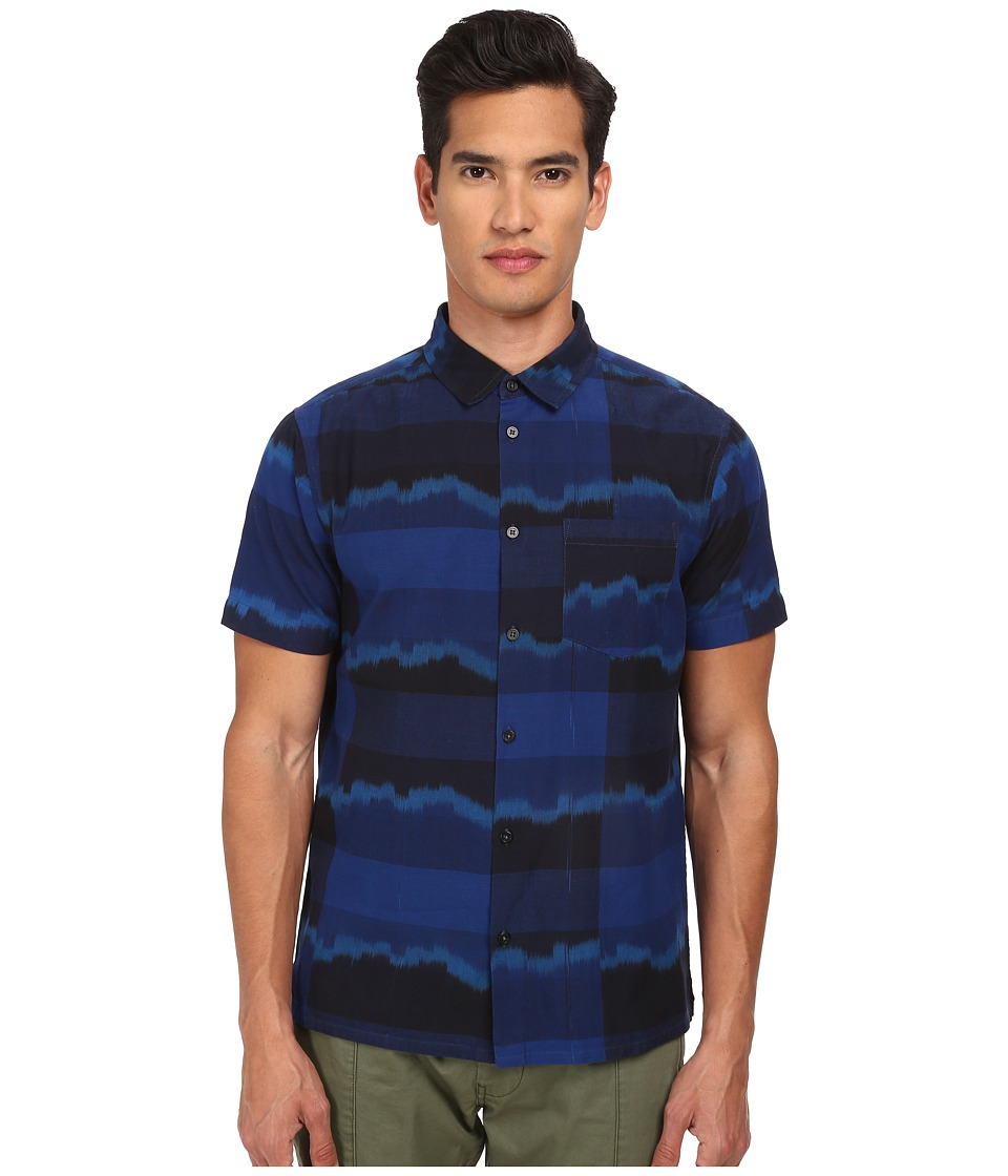 Marc by Marc Jacobs - Ikat Plaid Short Sleeve Shirting (Marine Blue Multi) Men's Short Sleeve Button Up