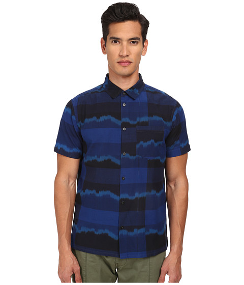 Marc by Marc Jacobs - Ikat Plaid Short Sleeve Shirting (Marine Blue Multi) Men