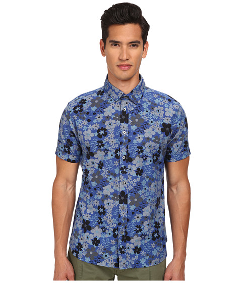 Marc by Marc Jacobs - Floral Print Chambray Short Sleeve Shirt (Mazarine Blue Multi) Men's Short Sleeve Button Up