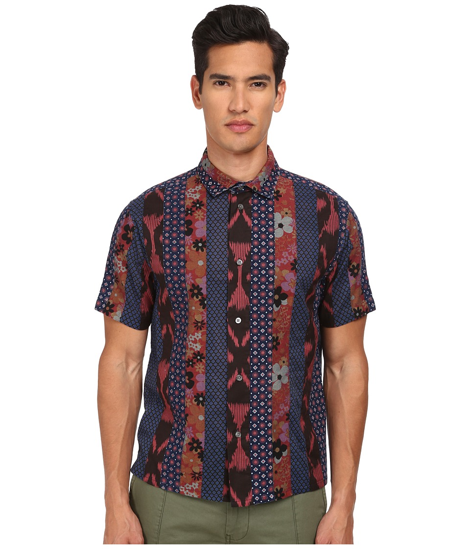 Marc by Marc Jacobs Patchwork Cotton Short Sleeve Shirt Mars Red Multi Mens Short Sleeve Button Up