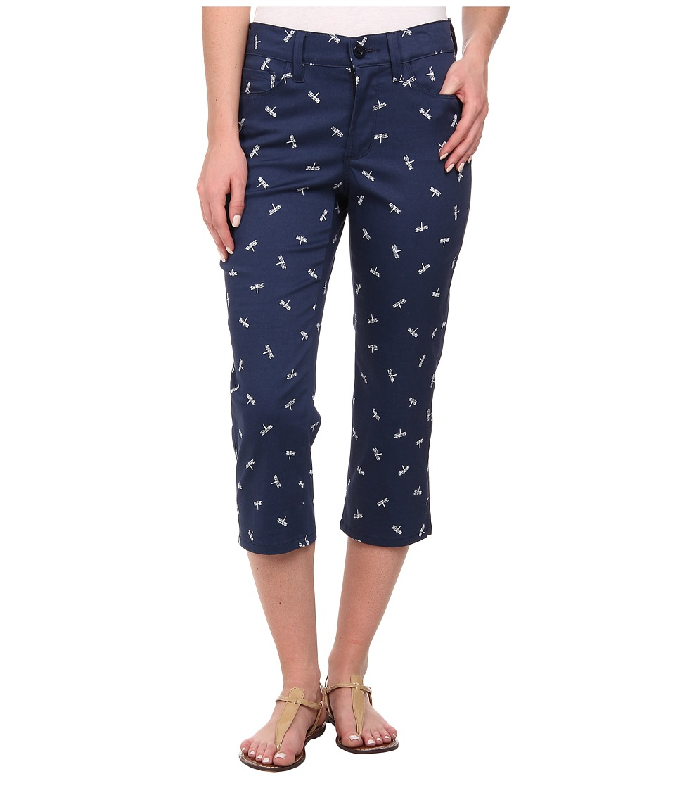 NYDJ - Bella Crop Printed (Dragoflies Navy) Women's Casual Pants