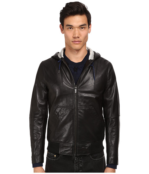 Marc by Marc Jacobs - Hooded Leather Jacket (Black) Men's Coat