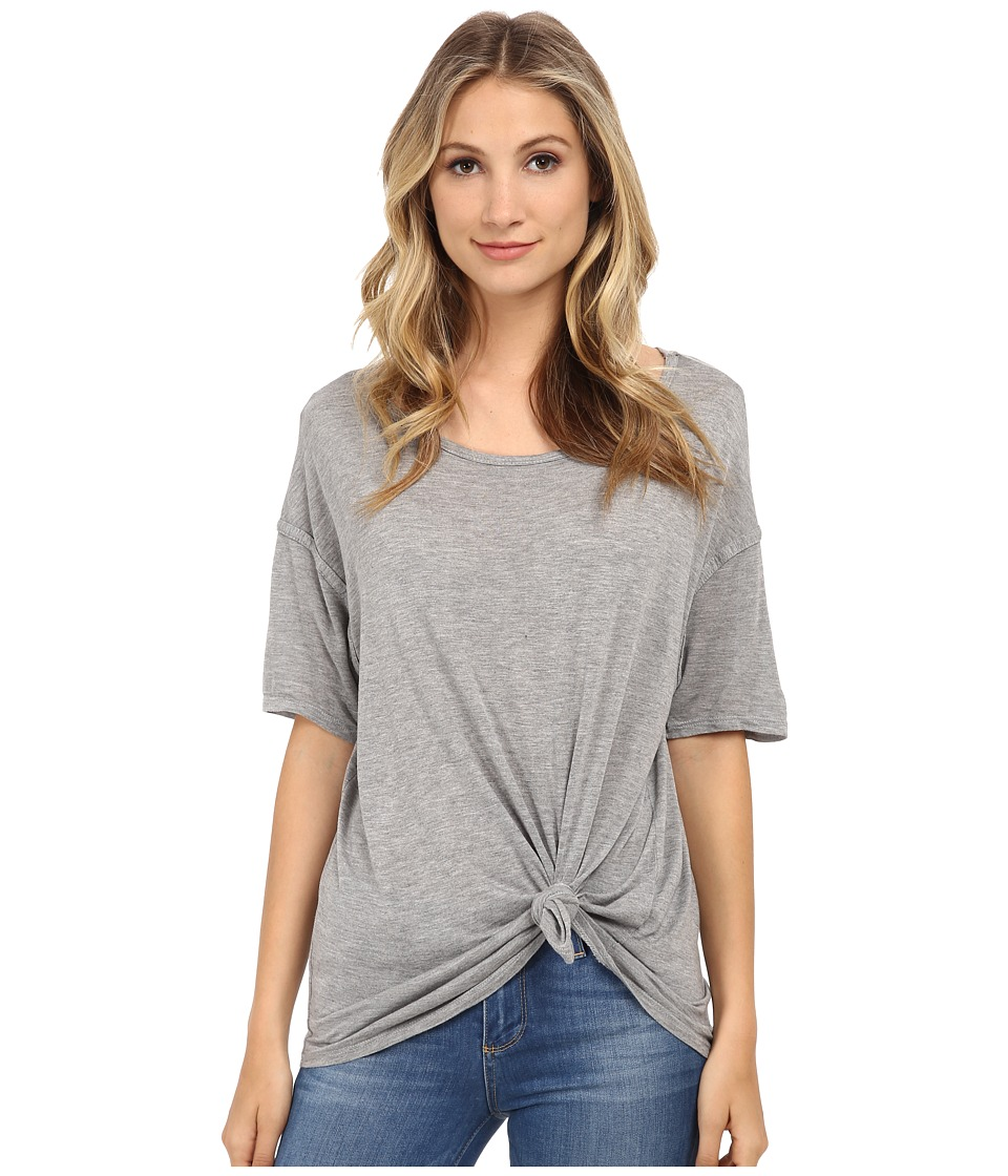 Michael Stars - Micro Modal Short Sleeve w/ Side Tie (Heather Grey) Women's Clothing