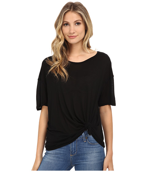 Michael Stars - Micro Modal Short Sleeve w/ Side Tie (Black) Women's Clothing