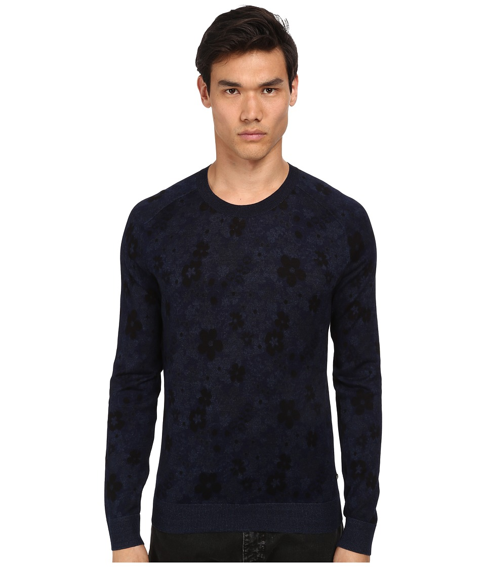 Marc by Marc Jacobs - Floral Indigo Sweater (Mazarine Blue Multi) Men