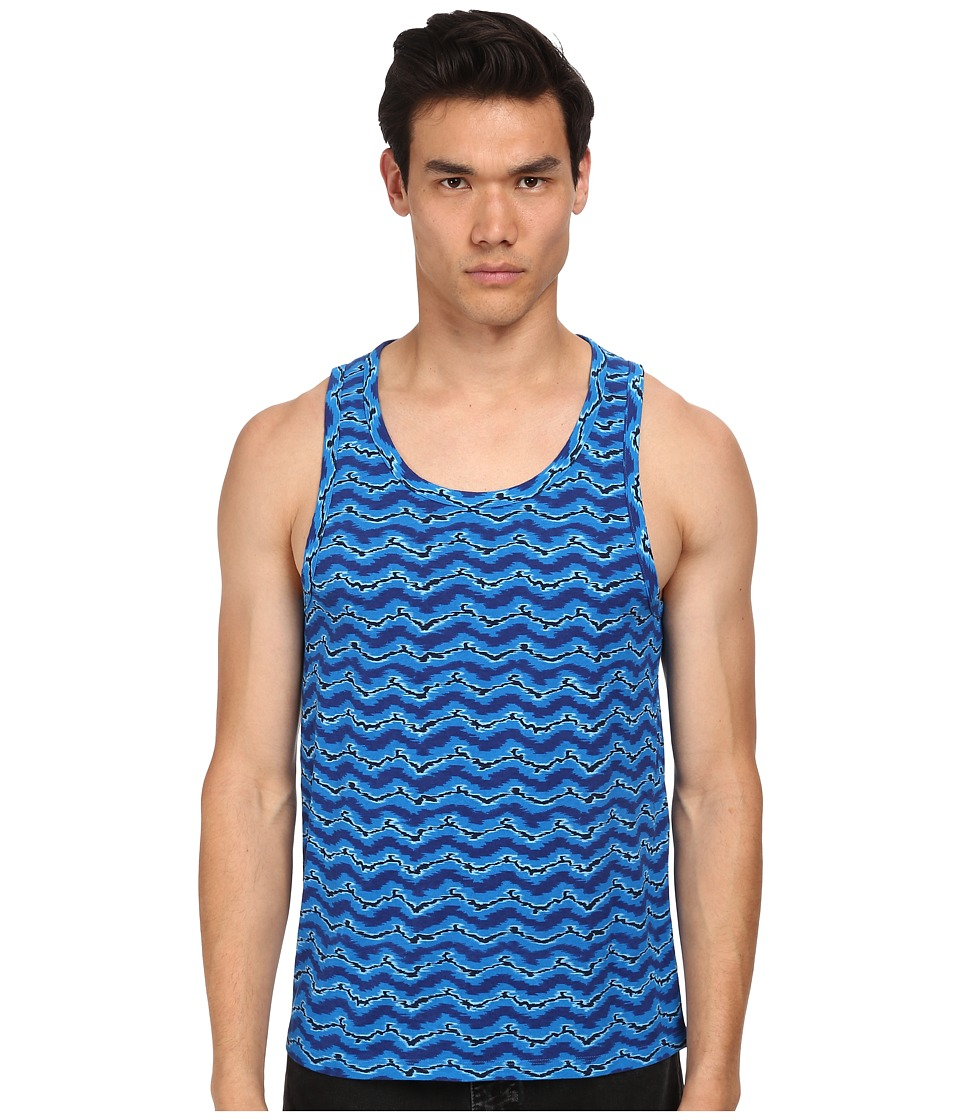 Marc by Marc Jacobs - Electric Ikat Jersey Tank Top (Blue Multi) Men's Sleeveless