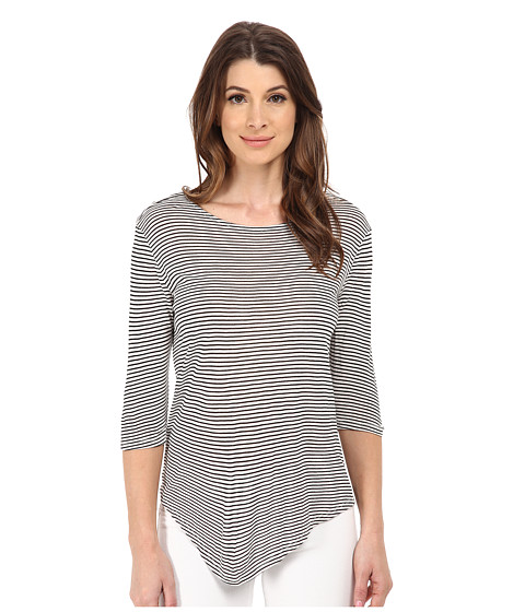 Michael Stars - Viscose Stripe Elbow Sleeve Scoop Neck (White/Black) Women's Clothing