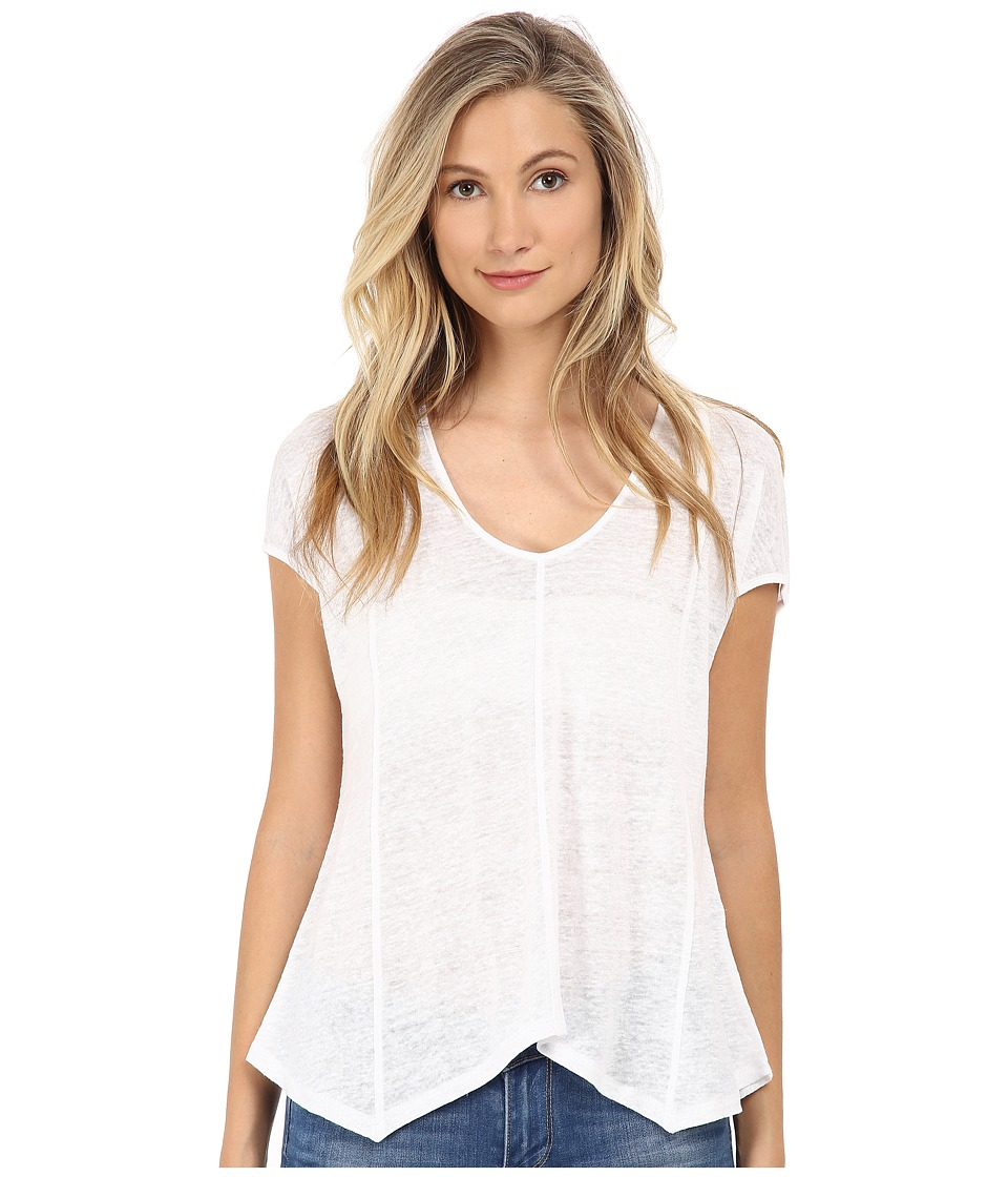 Michael Stars - Linen Knit Short Sleeve Handkerchief Hem Tee (White) Women